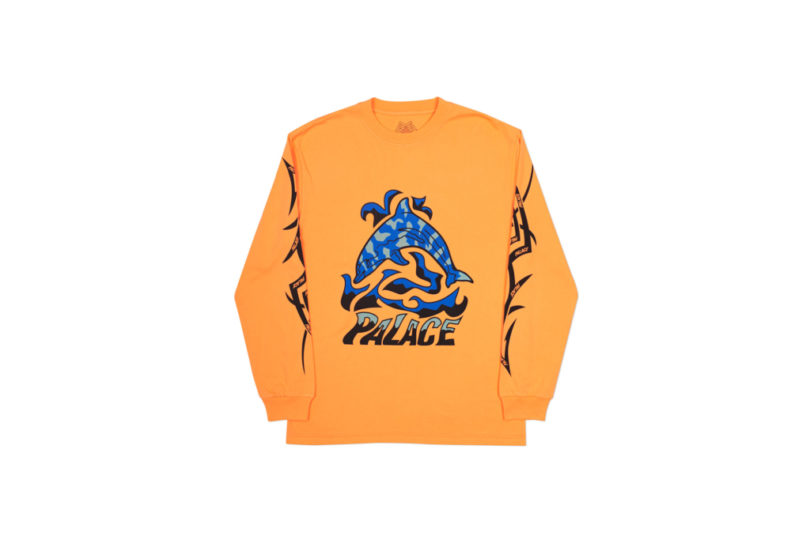 Palace-17-Drop-B-Long-Sleeve-T-Shirt-Sketchy-Dolphin-orange-front